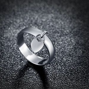 Silver 925 dangle heart ring size 6